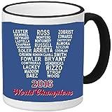2016 Champions Cubs 11 ounce Black Rim/Handle Ringer Ceramic Coffee Mug Tea Cup by Debbie's Designs