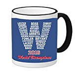 2016 Champions Cubs 11 ounce Black Rim/Handle Ringer Ceramic Coffee Mug Tea Cup by Debbie's Designs