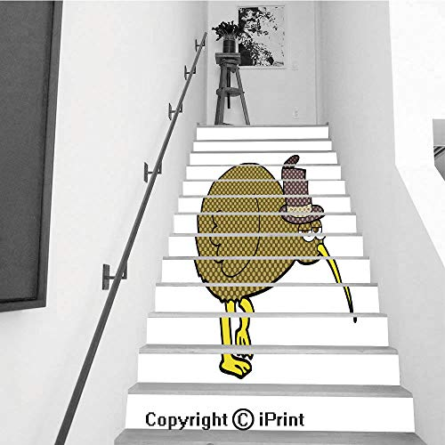 baihemiya stickers 13Pcs Stair Sticker Decals 3D Creative Building Stair Risers Tiles Wallpaper Mural Self-Adhesive,Comic Book Speech Bubble Cartoon Kiwi bird1 ()