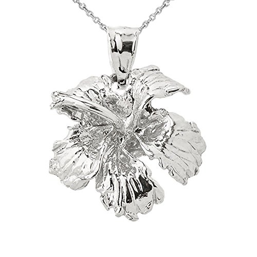 925 Sterling Silver Caribbean Hibiscus Flower Charm Pendant ()