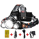 Brightest and Best LED Headlamp 10000 Lumen flashlight- IMPROVED LED, Rechargeable 18650 headlight flashlights Waterproof Hard Hat Light, Bright Head Lights, Running or Camping headlamps