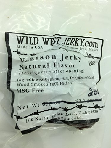 #1 BEST Premium 100% Natural Grass Fed Hand Stripped 2 OZ. Thick Cut Delicious Tasty Bold Flavor Venison (Deer) Jerky from Utah USA - Wood smoked With Hickory Wood by Wild West Jerky (Natural 30 Pack) (Amish Food Gift Baskets)
