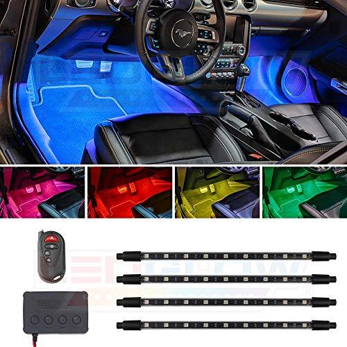 LEDGlow 4pc Million Color SMD LED Car Interior Underdash Lighting Kit - 36 SMD LEDs - Music Mode - Universal Fitment