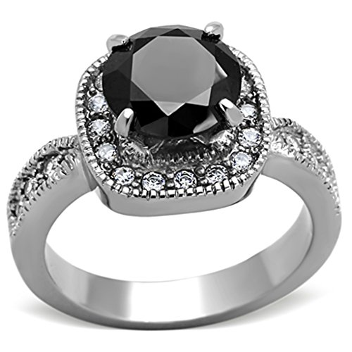 Marimor Jewelry 3 CT ROUND CUT Black Cubic Zirconia STAINLESS STEEL HALO ENGAGEMENT RING Size 6