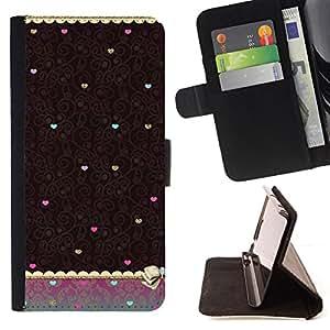 """For Samsung Galaxy S6 Edge Plus / S6 Edge+ G928,S-type Corazón del trullo de Brown del papel pintado de la vendimia"""" - Dibujo PU billetera de cuero Funda Case Caso de la piel de la bolsa protectora"""