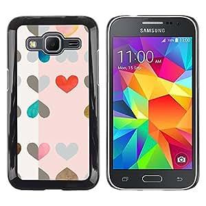 Paccase / SLIM PC / Aliminium Casa Carcasa Funda Case Cover para - Hearts Pattern Pink Red Drawing Art - Samsung Galaxy Core Prime SM-G360