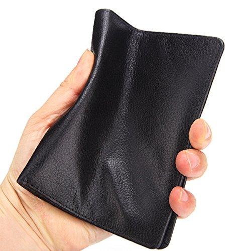 Color : Color Black Fishagelo Vintage Genuine Leather Minimalist Passport Holder Wallet for Men