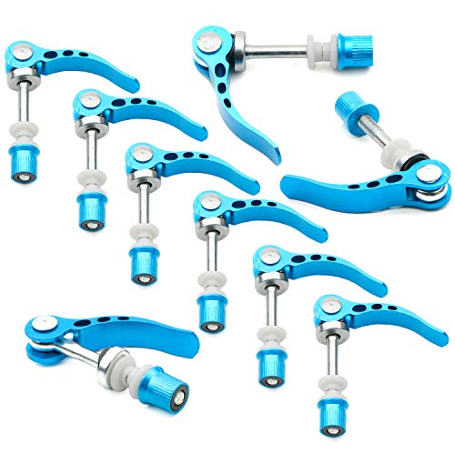 (Rowiz Blue Aluminum Alloy Bike Seat Clamp, M6 × 65mm Bicycle Binder Clamp Bolt Seat Post Quick Release, Pack of 10)