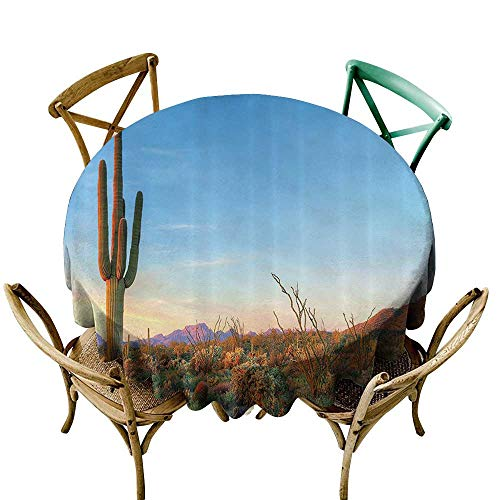 Jbgzzm Restaurant Tablecloth Saguaro Cactus Decor Sun Goes