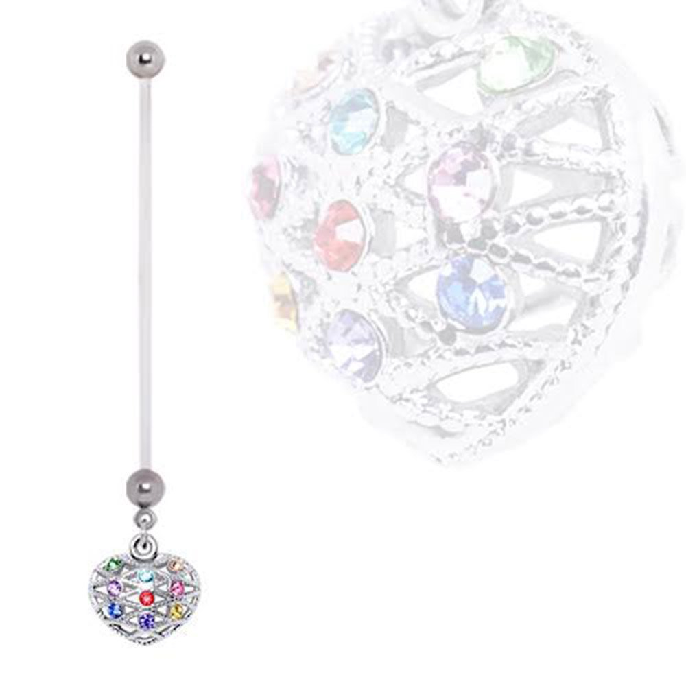 BioFlex Rainbow 3D Heart Dangle Pregnancy WildKlass Navel Ring