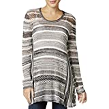 Style & Co. Womens Petites Knit Open Stitch Pullover Sweater Gray PM