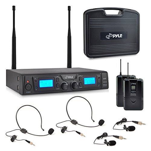 Pyle UHF Wireless Microphone & Rack Mountable Receiver System 2 Belt Packs, 2 Lavelier/Lapel MIC Travel Case 16 Channel Frequency Independent Channel Volume Control LCD Digital Display (PDWM3365) (Microphone Vhf Series Wireless Handheld)