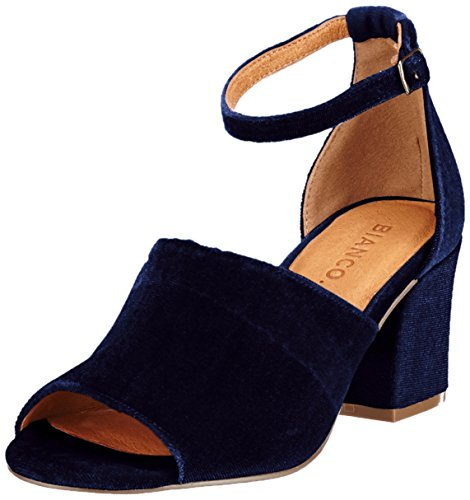 Bianco Samt-Party- Sandalen, blau, NAVY BLUE