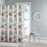 Beach Themed Shower Curtains Madison Park Pebble Beach Textured Cotton Fabric Long Shower Curtain, Coastal Shower Curtains for Bathroom, 72 X 72, Coral