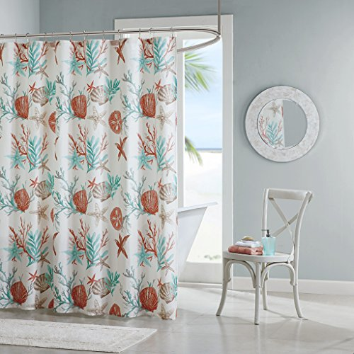 Coral Pebbles (Pebble Beach Cotton Printed Shower Curtain Coral 72x72