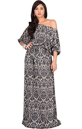 KOH KOH Petite Women Long Sexy One Off Shoulder 3/4 Short Sleeve Summer Boho Bohemain Print Jersey Cute Casual Gown Gowns Maxi Dress Dresses, Black and Beige S 4-6