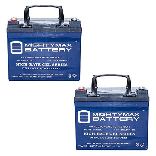 Dart Runabout - 12V 35AH GEL Battery for Invacare, Dart Runabout, Exel 250 - 2 Pack - Mighty Max Battery brand product