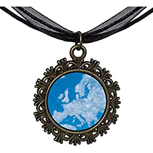 Chicforest Bronze Retro Style Blue Sky And Clouds Round With Flower Lace Pendant