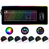 BlingFilm RGB Gaming Mouse Pad, Wired Led Extended Mousepad, Non-Slip Rubber Base Mouse Mat, 31.5 x 11.8 inches