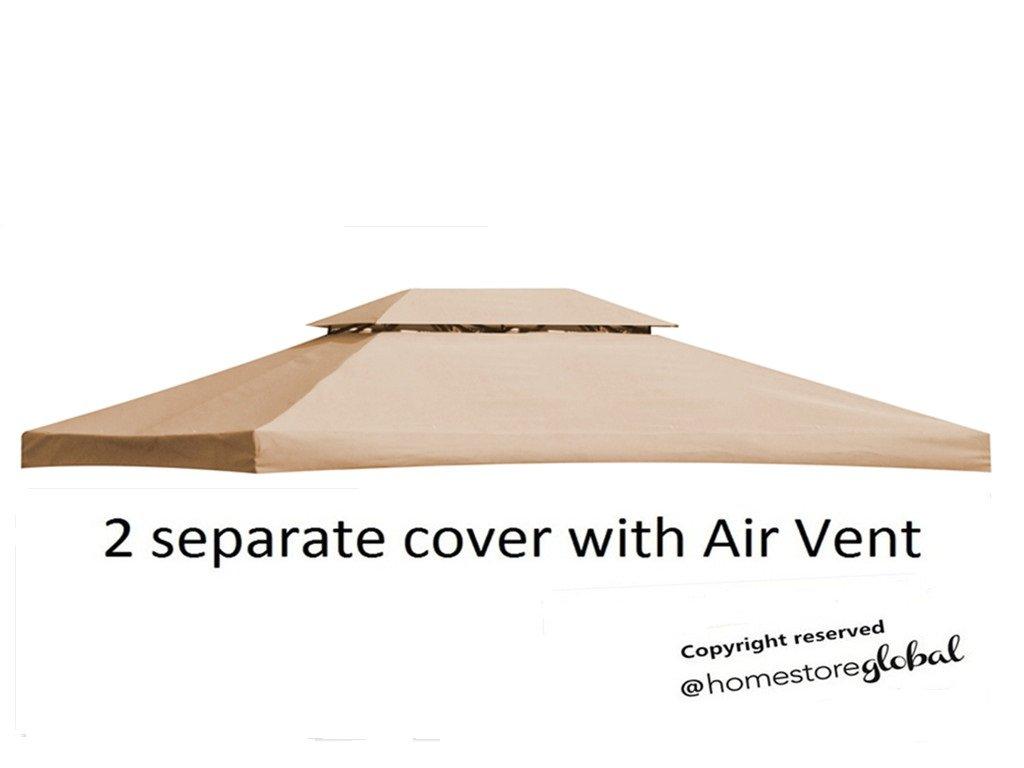 Sostituzione HomeStore globale Canopy per 4M x 3M gazebo con Air Vent - 2 pezzi di copertura separate per due livelli telaio gazebo (marrone)