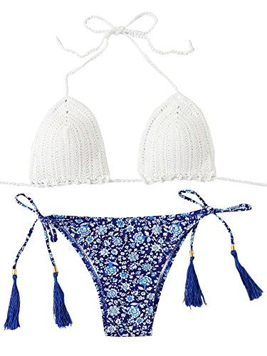 Crochet Triangle Top - SweatyRocks Women's Crochet Knitted Top Triangle Bikini Swimsuits, White , Medium