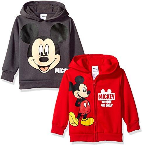 Disney Boys' Mickey 2 Pack Hoodies, Red, 2T