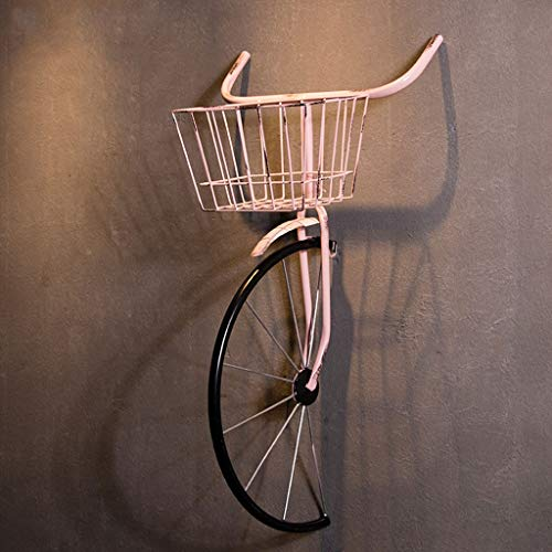 LZCYN Wrought Iron Bicycle Wall Hanging American Industrial Wind Retro Wall Decoration Pendant Creative Bar Wall Mount Restaurant Cafe Wall Decor (Color : Pink, Size : Lighted) (Iron Wall Wrought Art Bicycle)