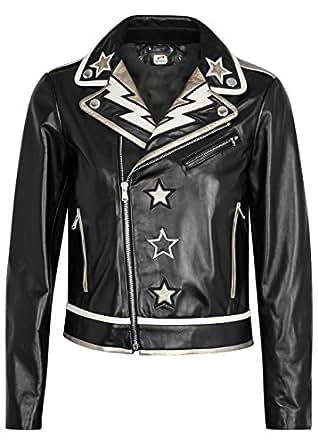 ST Fashion Faux Leather Jacket Women Black White Golden