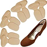 Chiroplax High Heel Cushion Inserts Pads (4 Pairs) Suede Metatarsal Heel Liner Protector Grips Anti Slip Shoe Insoles for Women (Beige)