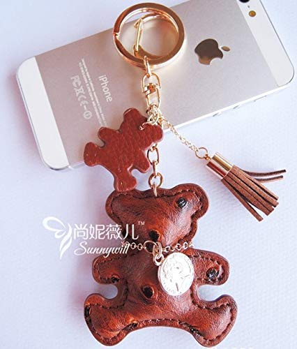 Rarido Multicolor PU Leather Cute Teddy Bear Keychain for Keys Animal Key Chain Car Key Ring Women Bag Chamrs Pendant - (Color: L)