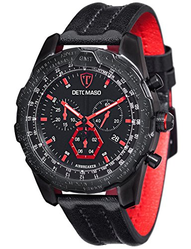 DETOMASO Men's Quartz Stainless Steel and Leather Casual Watch, Color:Black (Model: DT-YG101-A)