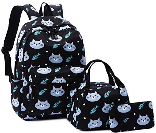 Backpack for School Girls Boys Kids School Bag Teens Bookbag Set Water Resistant 15 inches Laptop Daypack (Cat-Black A004)