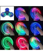 Gyro Spinner Lichtgevende LED licht Fidget Spinner Hand Top Spinners Glow in Dark Light EDC Figet Spiner Vinger Stress Relief Speelgoed (Kleur: Blauw)