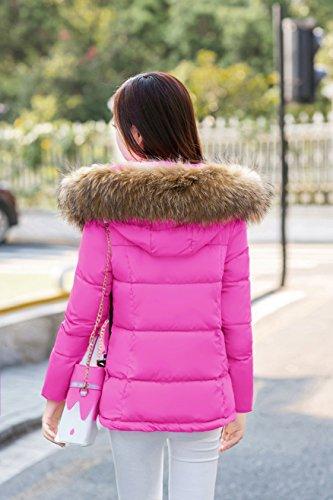 Veste Rouge Blouson Rose Fausse Fille 5 Parka Avec Acvip Court Couleurs Chaud Hiver Capuche Femme Manteau Fourrure awqxT5v