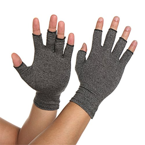 ARHSSSZY 1 Pair Arthritis Compression Fingerless Gloves for Womens Mens, Joint Pain,Cold Swollen Hand Stiffness and Neuropathy Pain Relief,Improves Blood Circulation (Light Grey,Large) by ARHSSSZY