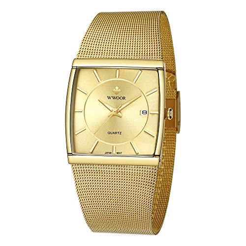 WWOOR Men's Watch Square Analog Quartz Waterproof Watch Stainless Steel Mesh Band with Date Business Casual Gift Watches (Gold)