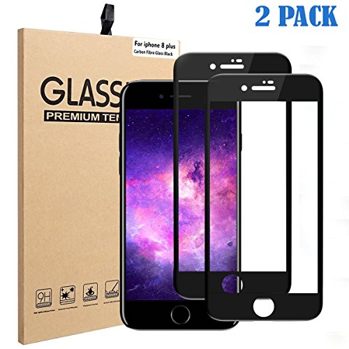 Tripsky iPhone 8 Plus, 7 Plus Screen Protector Carbon Fibre Soft Edge Full coverage Glass , iPhone 8 Plus, 7 Plus Tempered Glass Crystal Clear And 9H Hardness Scratch Proof (Black edge,2 pack) (Tempered Carbon)