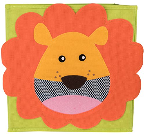 Clever Creations Smiling Lion Collapsible Toy Storage Organizer Sturdy Toy Box Folding Storage Ottoman for Kids Bedroom | Perfect Size Toy Chest for Organizing Books, Toys, Clothes, Shoes