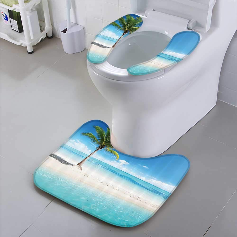 Auraisehome Toilet seat Shore Sunlights Palm Tree Bathroom Accessories Extral Suit for The Toilet