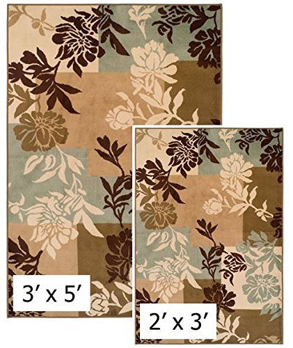 Achim Importing Easton Collection 2 Piece - 2 X 3 & 3 X 5 - Area Rug Set - Floral Boxes, EASTASST10