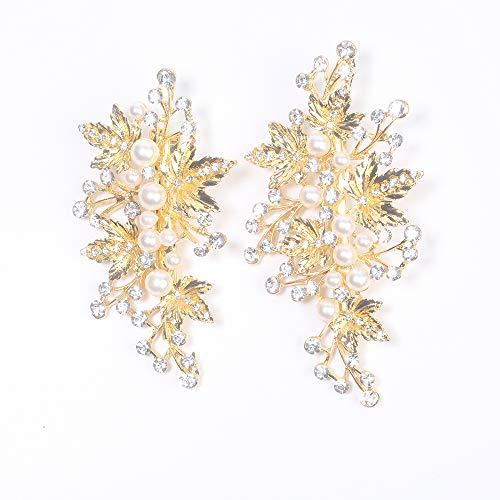 Sppry Wedding Hair Clips (2 Pcs) - Rhinestone Pearl Hair Accessories for Bridal Women