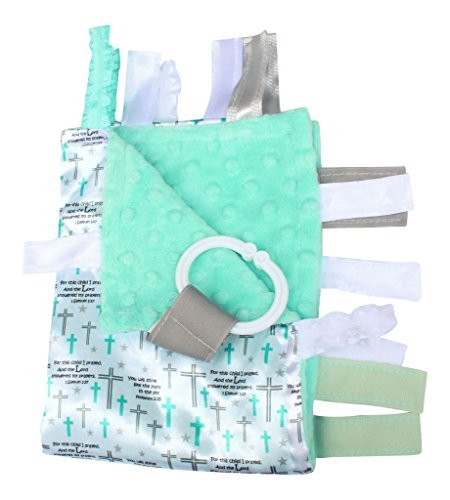 """Baby Sensory, Security & Teething Closed Ribbon Tag Lovey Blanket with Minky Dot Fabric: 14""""X18"""" (Prayer)"""