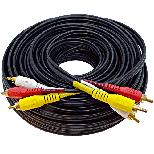 (Seismic Audio - SARCRWY50-50 Foot 3 RCA Composite Audio Video RG59 Cable Heavy Duty Color Coded RCA Male Gold Plated Connectors)