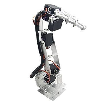 diymore Silver ROT3U 6DOF Aluminium Robot Arm Mechanical Robotic Clamp Claw  Kits for Arduino(Parts Without Servos)