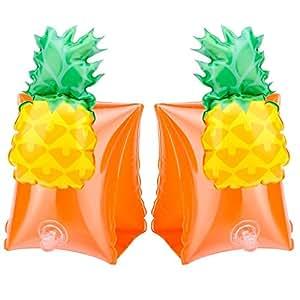 1Pair Inflatable Floating Child Swim Vest Arm Float Ring Circle Infant Float Neck Swim Trainer - Yellow Pineapple