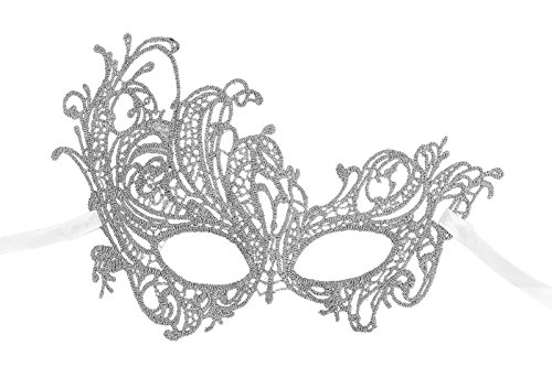 AbbyLexi Women's Pretty Lace Masquerade Halloween Party Eye Mask, Silver