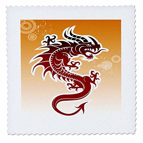 Background Quilt - 3dRose qs_62464_2 Asian Dark Red Dragon on Orangy Background-Quilt Square, 6 by 6-Inch