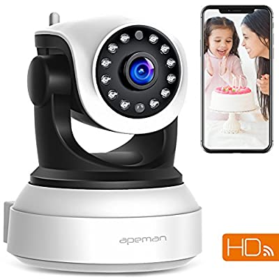 APEMAN WiFi IP Camera 720P Wireless Home Security Surveillance CCTV Camera with Night Vision Baby Pet Monitor Motion Detection Two Way Audio Pan/Tilt/Zoom by apeman