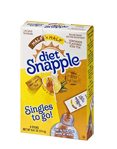 Diet Snapple Singles To Go Water Drink Mix - Half'n'Half Lemonade Tea Flavored Powder Sticks (12 Boxes with 6 Packets Each - 72 Total Servings) ()