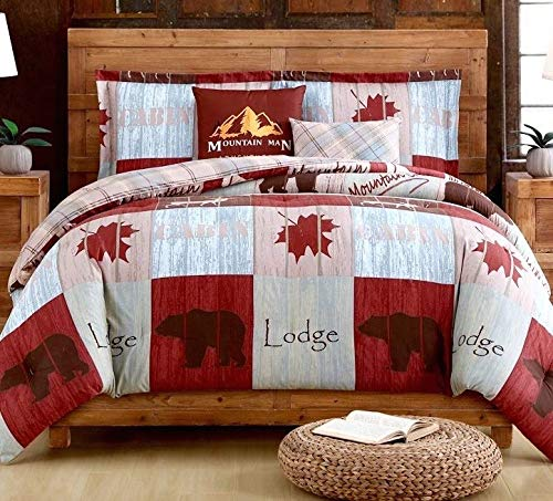 - LODGE TRAIL Autumn Maple Leaves Cabin Bear Patchwork and Plaid Comforter, (2)-Pillow Shams & (2) Decorative TOSS Pillows! (5pc Full/Queen Size (88